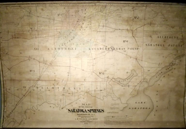 Map of the Town of Saratoga Springs, New York [WALL MAP]. J. W. MOTT, L. H. Cramer.