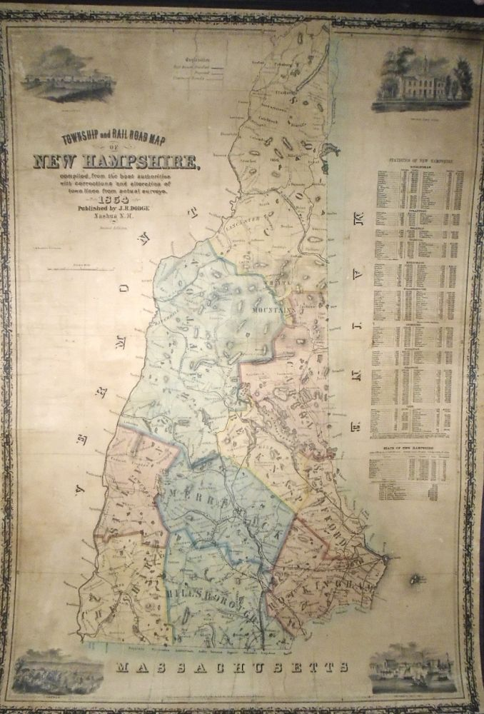 Township and Railroad Map of New Hampshire. J. R. DODGE.
