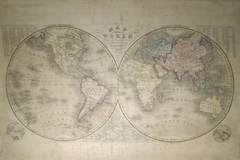Map of the World, Compiled from the Most Authentic Sources [WALL MAP]. Case and WATERS