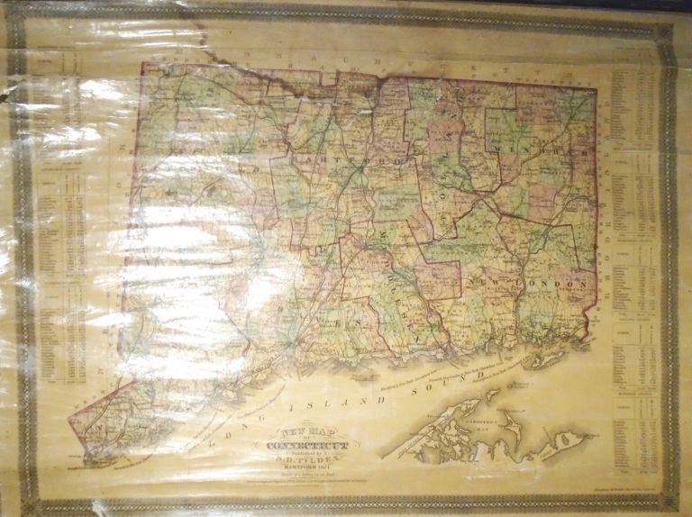 New Map of Connecticut [WALL MAP]. S. D. TILDEN