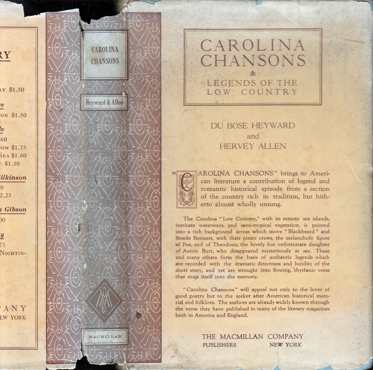 Carolina Chansons: Legends of the Low Country. DuBose HEYWORD, Hervey ALLEN.