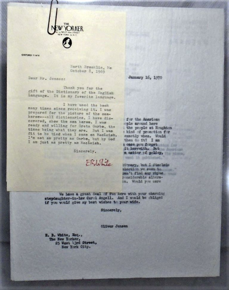 Two Typed Letters Signed - 1969 & 1970. E. B. WHITE.