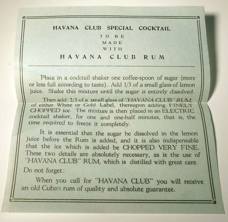 Havana Club Special Cocktail [BROADSIDE] with: Havana Club Rum [POSTCARDS / ENVELOPE]. S. A. JOSE...