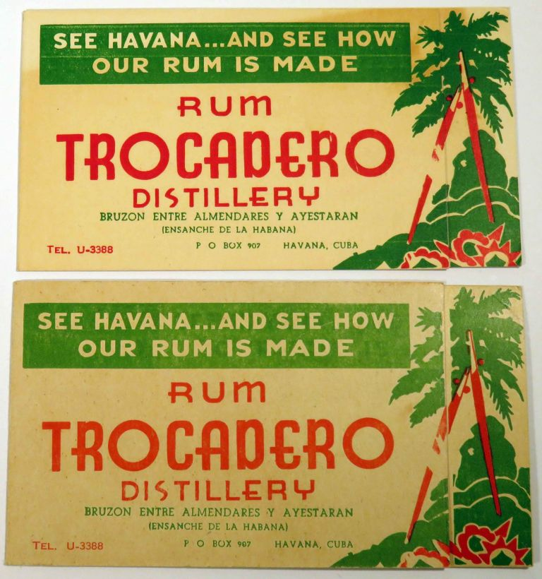 See Havana and See How Our Rum is Made, Rum Trocadero Distillery [COCKTAIL RECIPES] [SET OF TWO]. TROCADERO RUM.