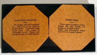 8 [Eight] Liquor Proof Coasters with Eight Popular Recipes for Cocktails on Reverse Side