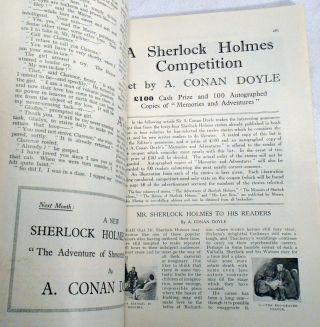 A Sherlock Holmes Competition, Mr. Sherlock Holmes To His Readers by A. Conan Doyle, as printed in The Strand Magazine, Volume 73, # 43 . April, 1927