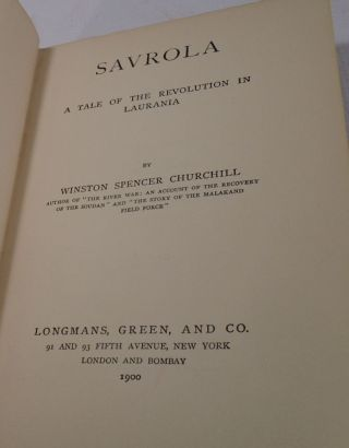 Savrola, A Tale of the Revolution in Laurania