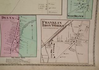 Map of Lee Center, Delta, Stokes, West Branch, and Franklin Iron Works, New York