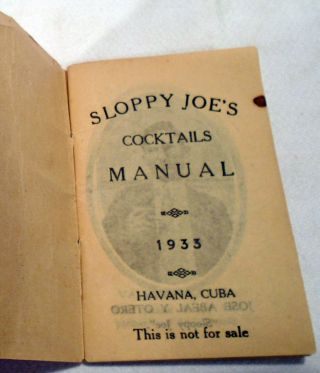 Sloppy Joe's Cocktails Manual