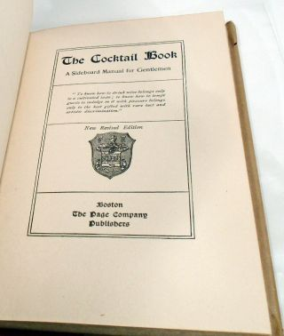 The Cocktail Book, A Sideboard Manual for Gentlemen