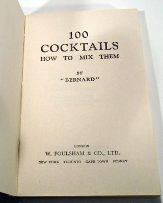100 [One Hundred] Cocktails How to Mix Them