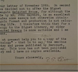 Typed Letter Signed From T. S. Eliot to A. K. Peters, Esquire