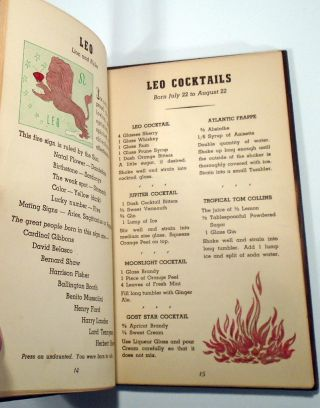Zodiac Cocktails, Cocktails For All Birthdays [SIGNED AND INSCRIBED]