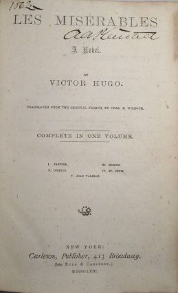 Les Misérables, Translated from the original French by Chas. E. Wilbour
