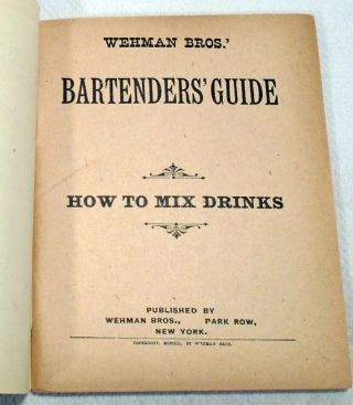 Wehman Bros.' Bartenders' Guide, How To Mix Drinks