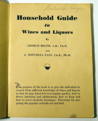 Household Guide to Wines and Liquors