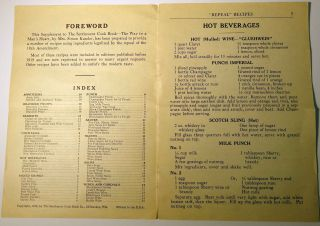 The Settlement Cook Book Repeal Recipes [Supplement]